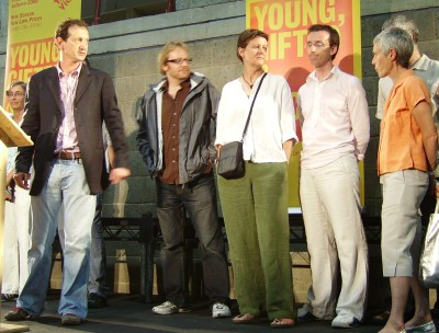 David Lan (left) with members of Young Vic Company