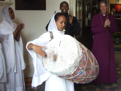 Ethiopian Orthodox Christians welcome the Bishop o
