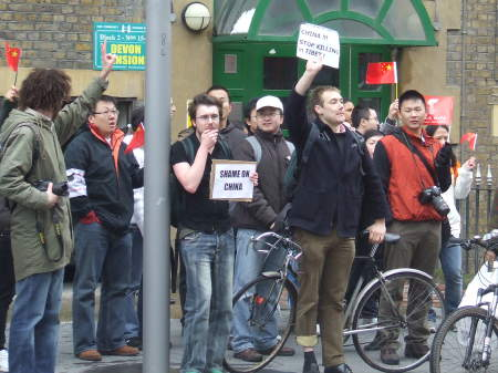 A small but noisy anti-China demonstration outside