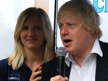 Rebecca Adlington and Boris Johnson
