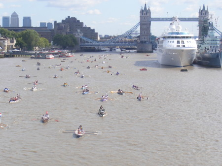 Great River Race competitors in the Pool of London