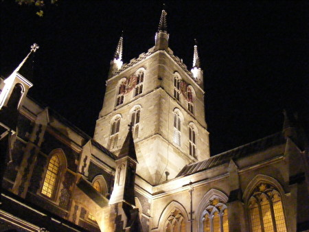 Southwark Cathedral by night