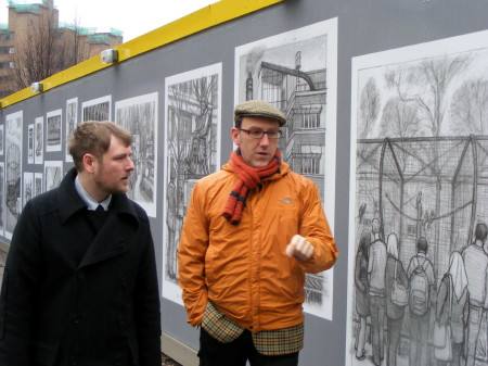 London drawings liven up hoardings at Tate Modern building site