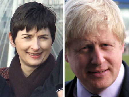 Caroline Pidgeon and Boris Johnson