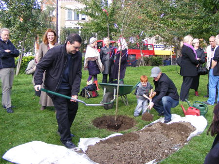 Gillie Johnson memorial tree planted at Waterloo Millennium Green