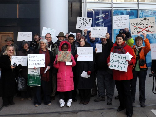 End of the South London Line: campaigners gather at London Bridge