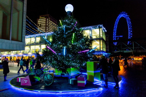 Pedal powered Christmas lights on the South Bank