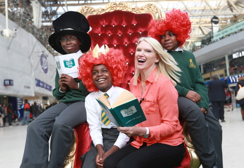 St Jude's pupils meet Anneka Rice at Waterloo Station
