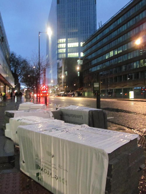 Fence blocks Blackfriars Road as storm scatters building materials