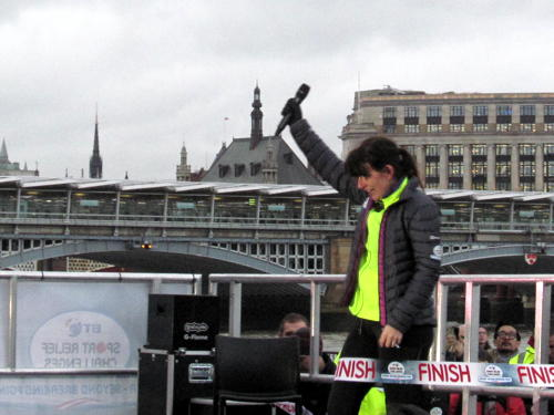 Davina McCall ends Edinburgh-London Sport Relief challenge at Millennium Bridge