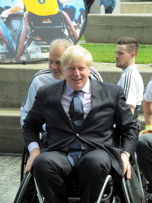 Boris tries wheelchair rugby outside City Hall