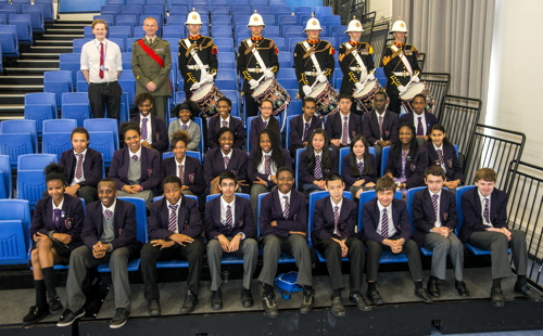 Royal Marines drummers and buglers visit Bermondsey school