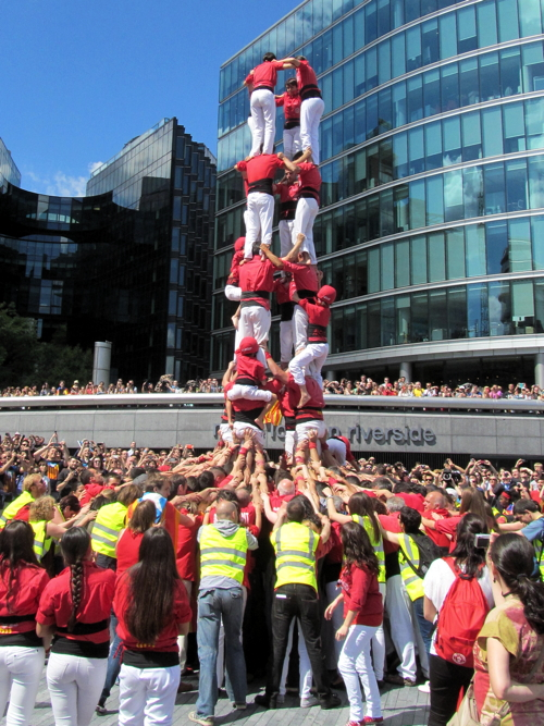 Catalan human tower outside City Hall part of Europe-wide action