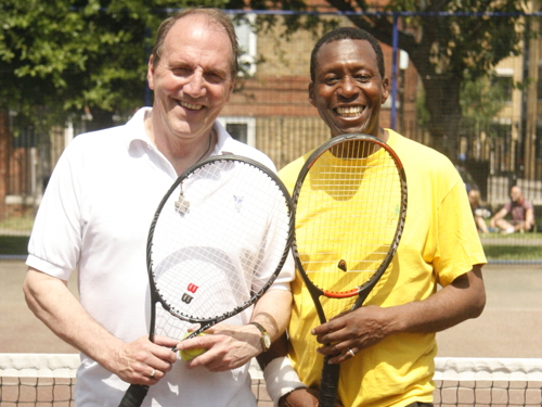 Simon Hughes takes up tennis at Tanner Street
