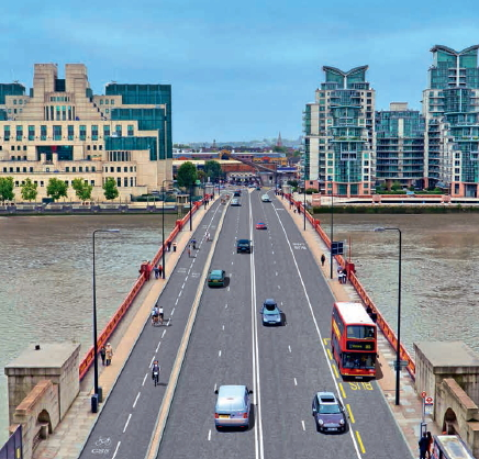 Segregated cycle track planned for Vauxhall Bridge