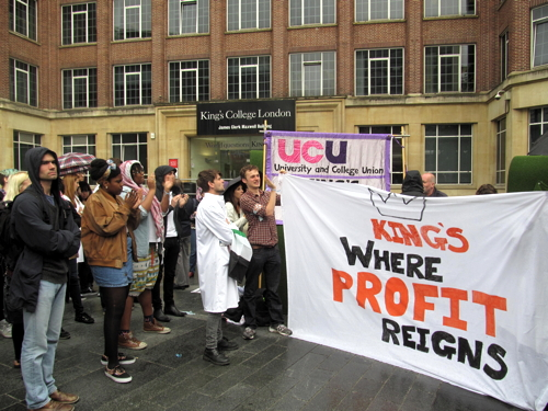 KCL staff & students march from Waterloo to Guy's in jobs protest