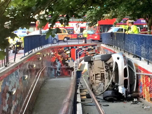 Car ploughs into subway at Elephant & Castle