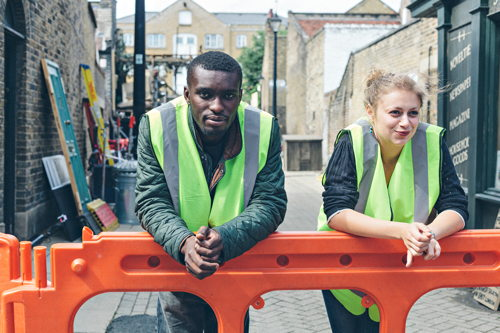 Local trainees employed as marshals on Roupell Street film set