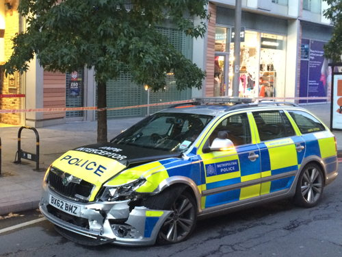 Police car in Southwark Street collision