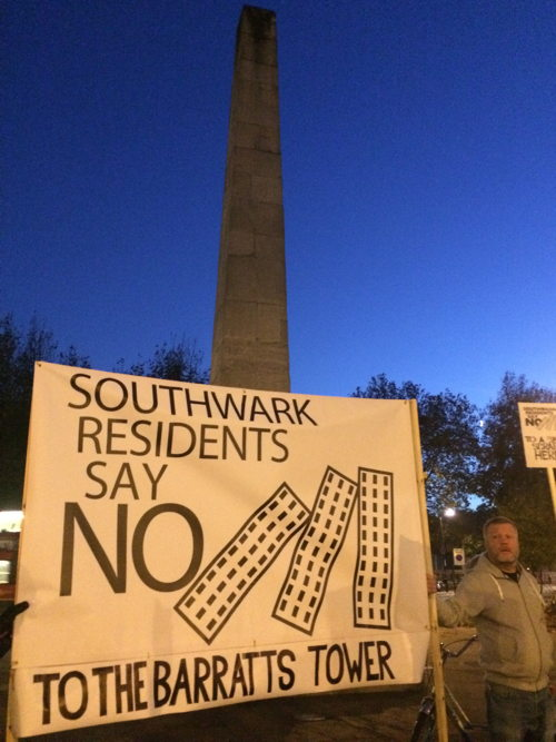 Locals hold protest against 27-storey tower at St George's Circus