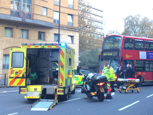 Motorcyclist injured in St George's Circus bus collision