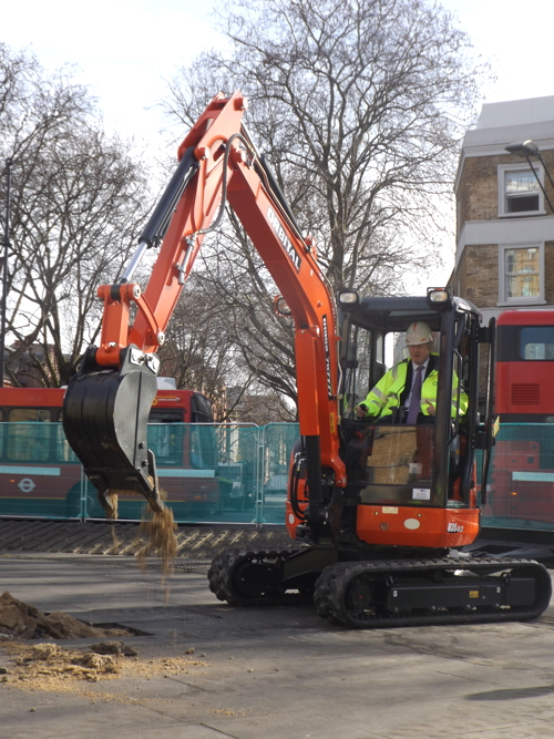 Boris digs a hole to start work on cycle superhighway