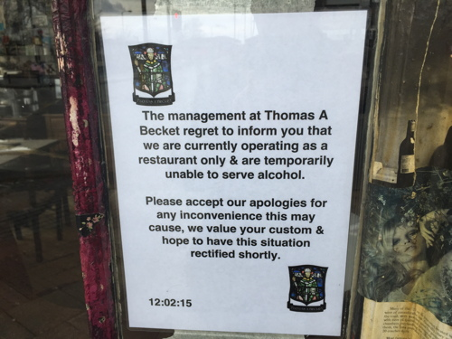Thomas a Becket pub up for sale after licence is revoked