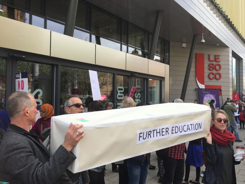 Coffin carried from college to City Hall to highlight FE threat