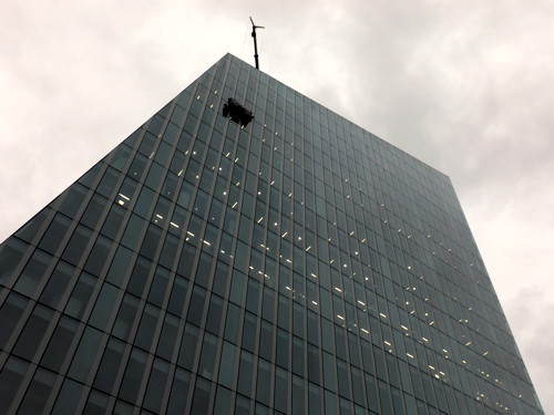 Masking tape blamed for window that fell from office block