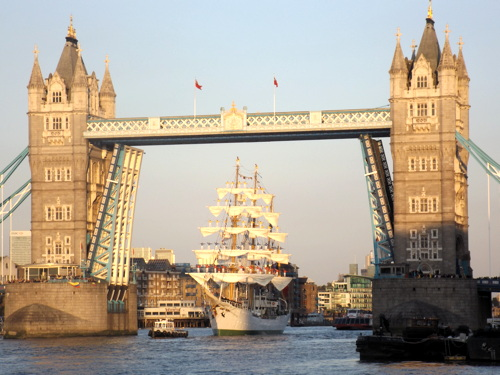 Colombian tall ship ARC Gloria visits the Pool of London
