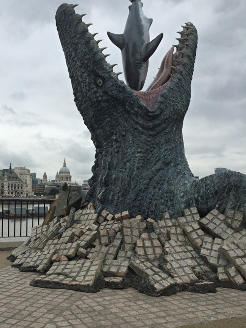 'Mosasaurus' breaks through the South Bank