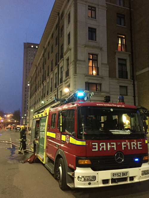 Firefighters tackle blaze on roof terrace at County Hall flats