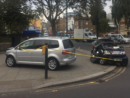 Minicab and Smart car in Waterloo Road smash