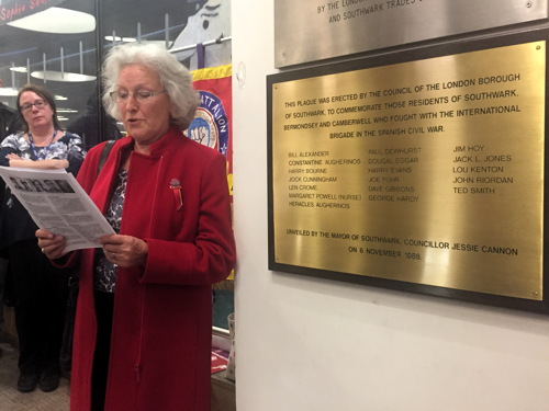 Spanish Civil War: plaque honouring Southwark fighters relocated