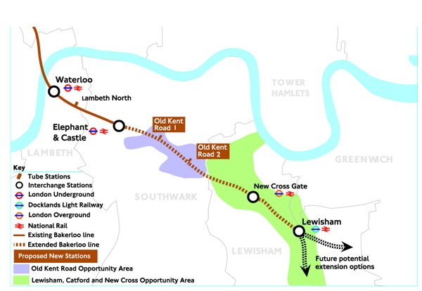 Where should SE1's new Bakerloo line stations be located?