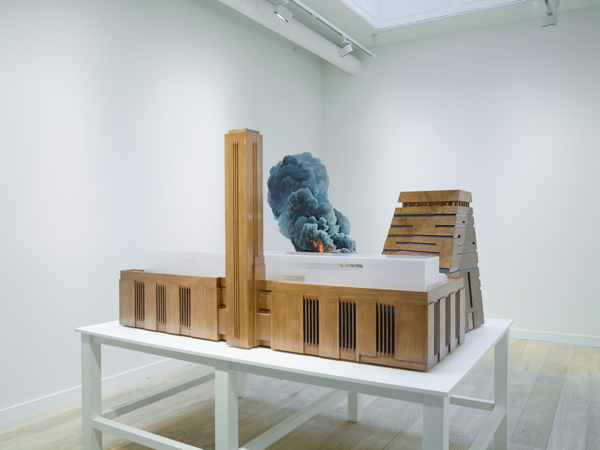 Model of Tate Modern on fire exhibited at West End art gallery