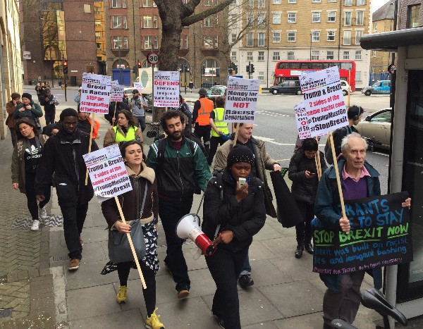 Anti-Trump and Brexit protest march starts at Elephant & Castle