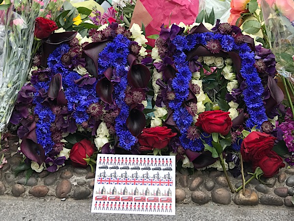 Flowers placed by first cops to respond to London Bridge attack