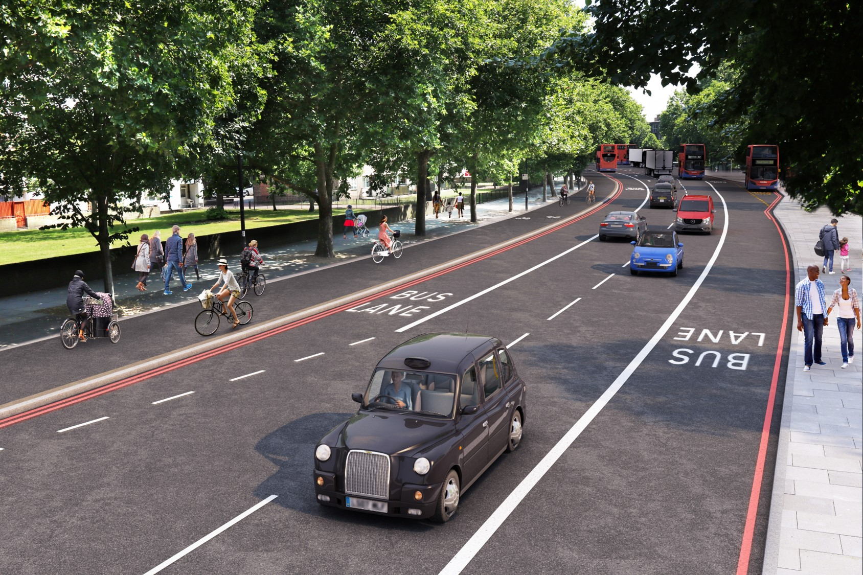 Cycle superhighway 4: bike tracks for Tooley Street & Jamaica Road