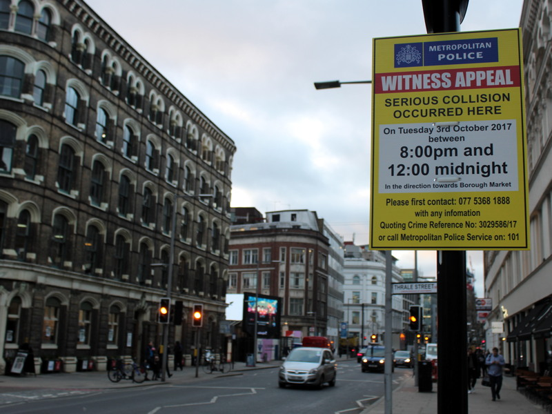 Southwark Street: police appeal for witnesses to collision