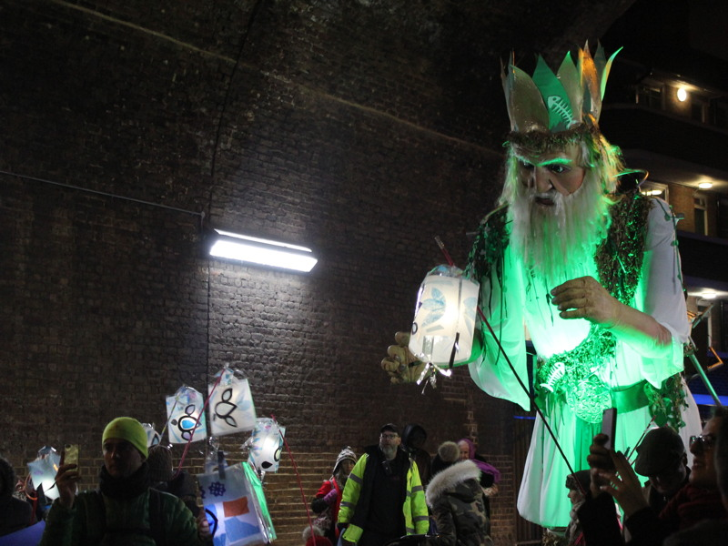 Old Father Thames leads lantern parade around Southwark streets