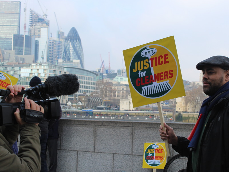 'Justice for tube cleaners' protest held at City Hall