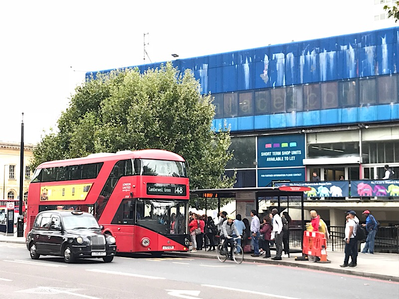 Elephant & Castle near top of table for 'hopper fare' bus travel