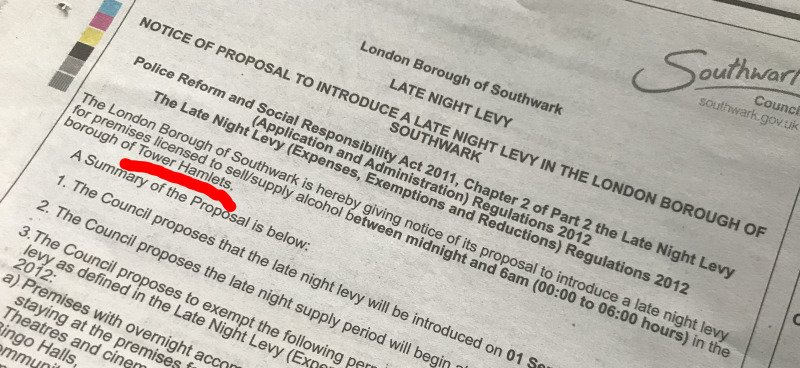 Southwark plans late night levy on post-midnight alcohol sales