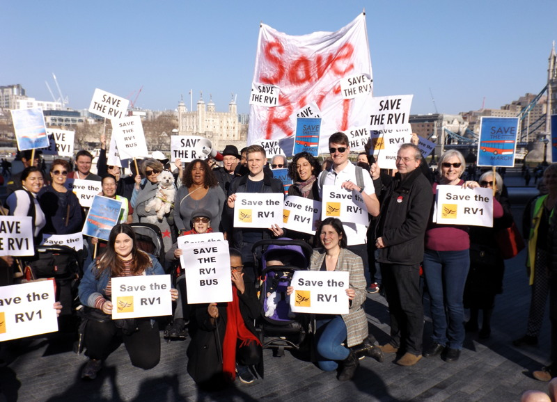 Save the RV1: locals march on City Hall to show support for bus