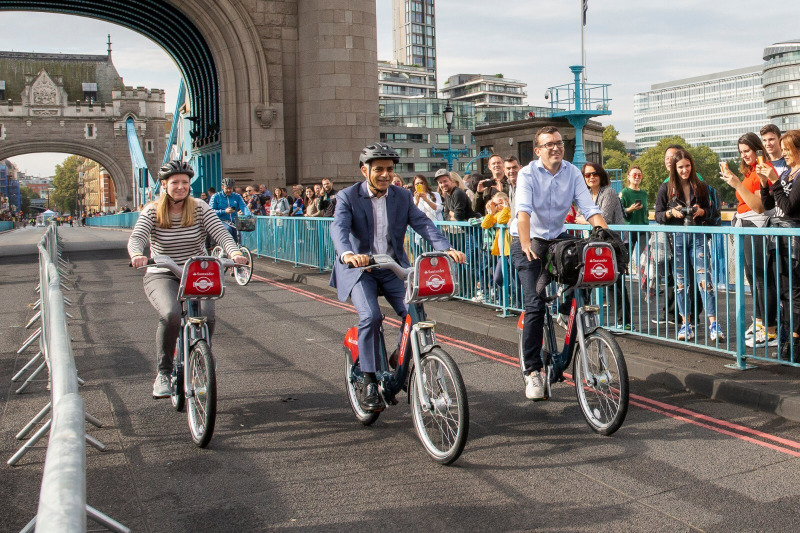 Mayor of London Sadiq Khan cycling across Tower Br