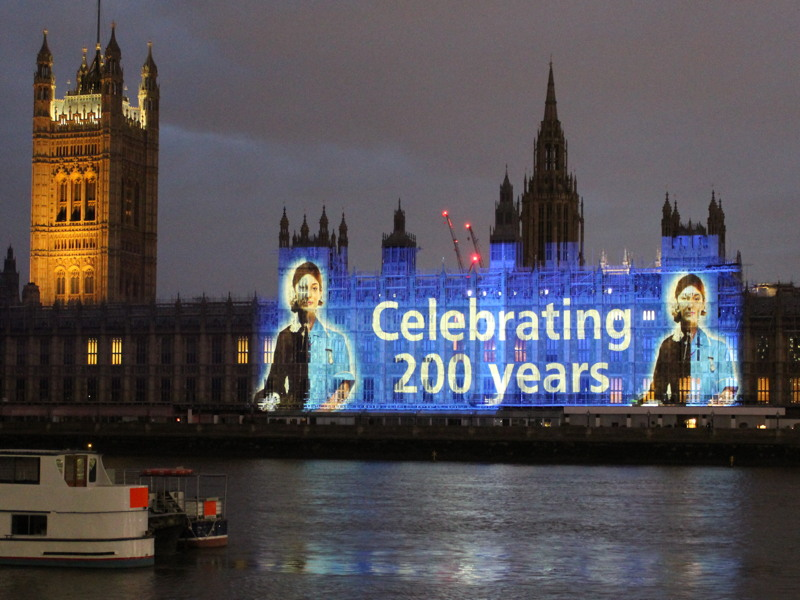 Florence Nightingale's image projected onto Parliament
