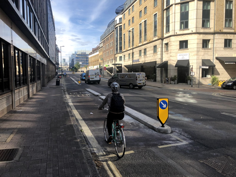 Southwark Bridge Road segregated bike lanes installed